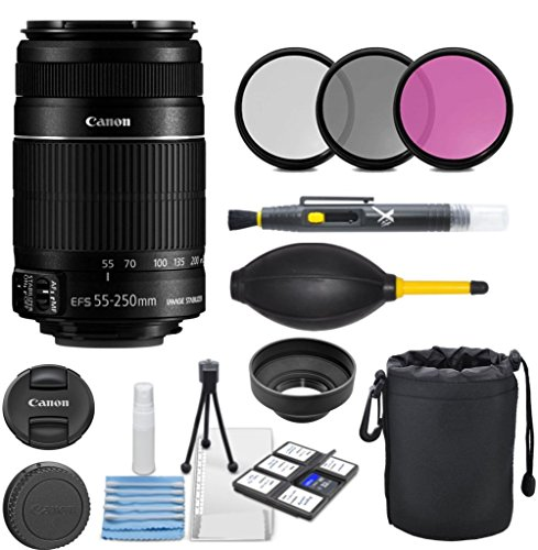 Canon EF-S 55-250mm f/4.0-5.6 IS II Telephoto Zoom Lens with 3pc Filter Kit (UV, CPL, FLD) + Pouch + Lens Hood + Deluxe Cleaning Kit - International Version by Celltime Inc.