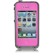 iPhone 4 / 4s Waterproof Shockproof Dustproof Hybrid Bumper Case (Pink/Grey)