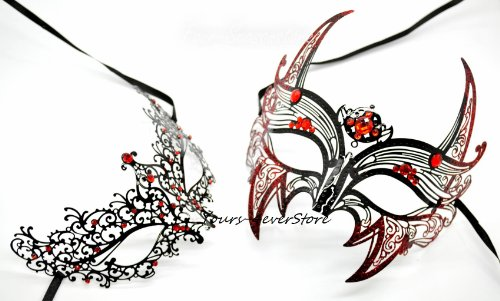New Magical Couple Mask Laser Cut Venetian Halloween Masquerade Mask Costume Extravagant Inspire Design Lover (Couples Jester Halloween Costumes)