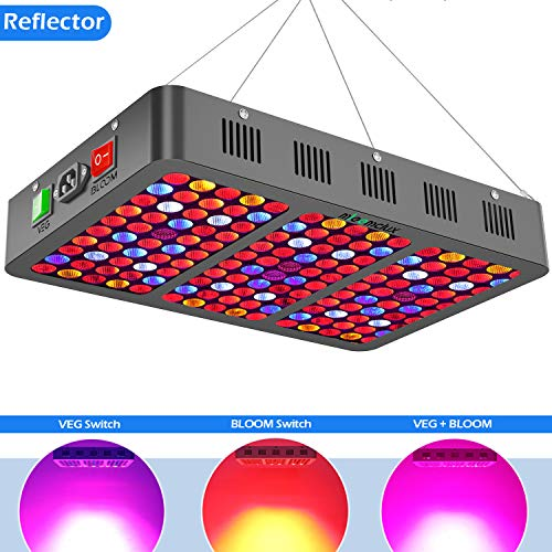 (Mieemclux 1500W LED Grow Light with Reflector, Triple-Chips (15W LED) Full Spectrum LED Plant Growing Lamp with Bloom and Veg Switch for All Indoor Plants (Daisy Chained Available) )