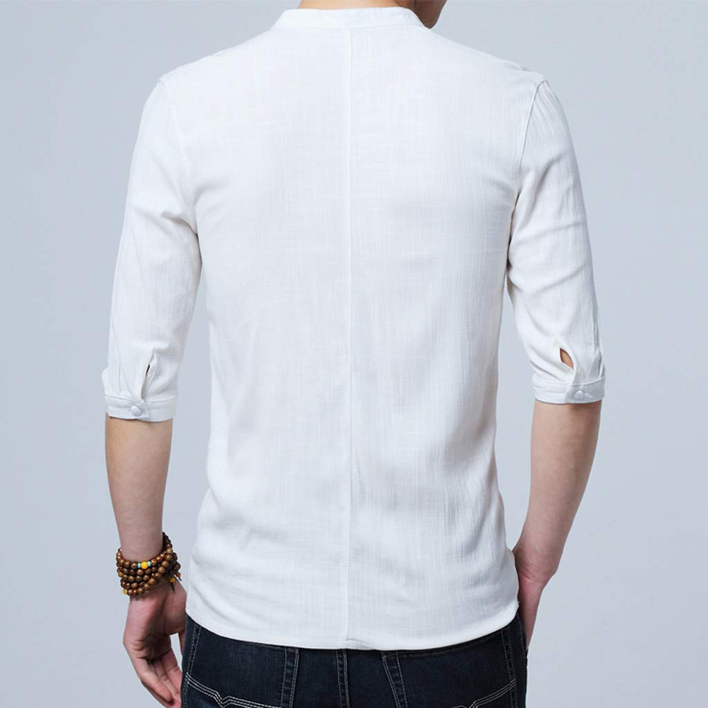 TiItstoy Mens Summer Vintage Style Pure Color Tops Blouse Stand Collar Buckle Half Sleeve T Shirts