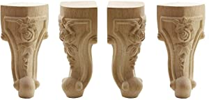 Loghot 4 Pack Wood Solid Unfinished Carved Furniture Legs Replacement Sofa Couch Chair Table Cabinet Leg