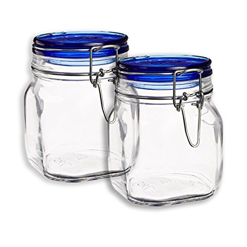 Set OF 2 Bormioli Rocco Fido Square Jars With Blue Bail And Trigger Lids, - Heremes Jar