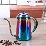 #10: Stainless steel Gooseneck Kettle - 8th team 650ml Pour Over Drip Kettle Stainless Steel With Precision Gooseneck spout for amazing water flow control,ideal for pour over coffee and tea (rainbow)