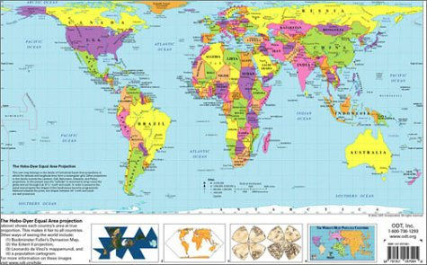 The hobo dyer equal area projection world map inc odt the hobo dyer equal area projection world map inc odt 9781931057110 amazon books gumiabroncs Image collections