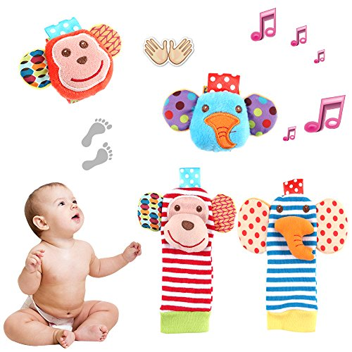 Tinabless Baby Socks Toys, Baby Wrist Rattle and Foot Rattles Finder Socks Monkey and Elephant Toys Set, Organic Cotton Socks for Infant and Toddler (4 Packs)