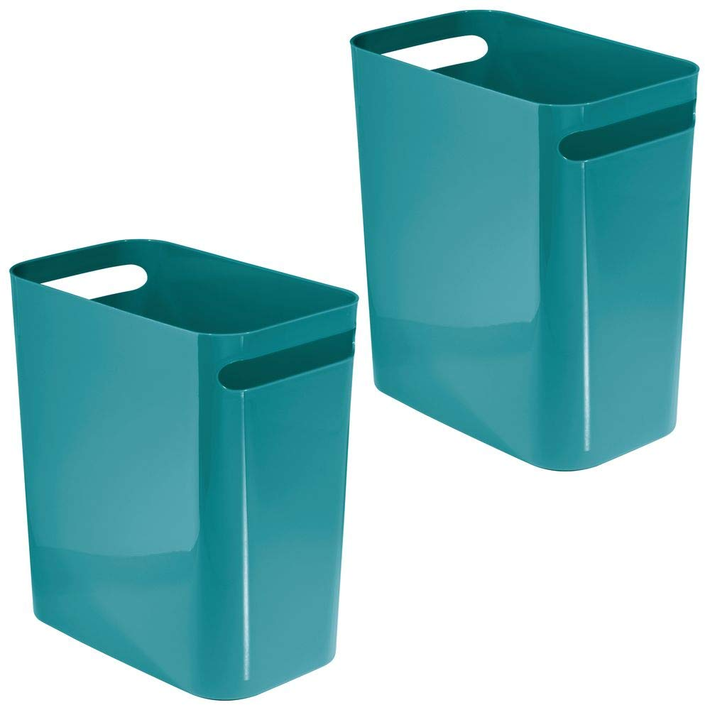 "mDesign Slim Plastic Rectangular Large Trash Can Wastebasket, Garbage Container Bin with Handles for Bathroom, Kitchen, Home Office, Dorm, Kids Room - 12"" High, Shatter-Resistant, 2 Pack - Teal Blue"
