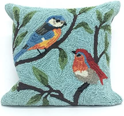 Liora Manne 2270/04 Birds On Branches Aqua Blue 18″ Square Indoor/Outdoor Pillow