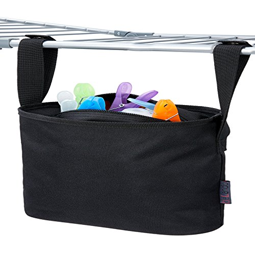 XXL FAMILY CLOTHESPIN BAG PREMIUM PEG BAG  Fits up to 300 Clothes Pegs  Waterproof Peg Basket with Hanger  8.7 x 15.8 inch - Black