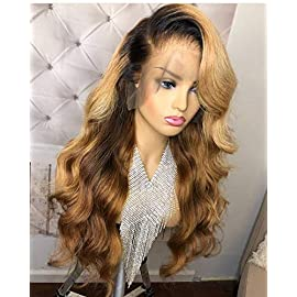 13×6 Lace Front human hair wigs Brazilian Virgin Human Hair Body Wave Ombre 1B/27 Glueless Human Hair Wigs for Women 150% Density(12 inch 150% density,full lace wig)