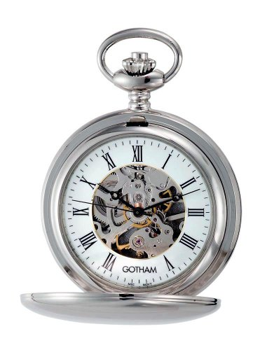Gotham Men's Silver-Tone 17 Jewel Mechanical Double Cover Pocket Watch # - Pocket Watch Jewels 15