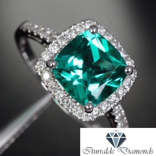 Amazon Com 14k Cushion Cut Emerald Diamond Pave Halo Engagement