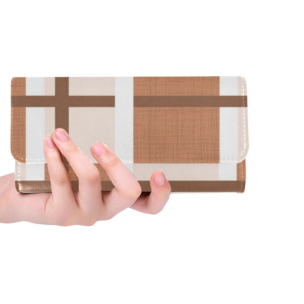 Unique Custom Fabric Cotton Geometric Pattern Brown Shades Women Trifold Wallet Long Purse Credit Card Holder Case Handbag by YIJIEVE