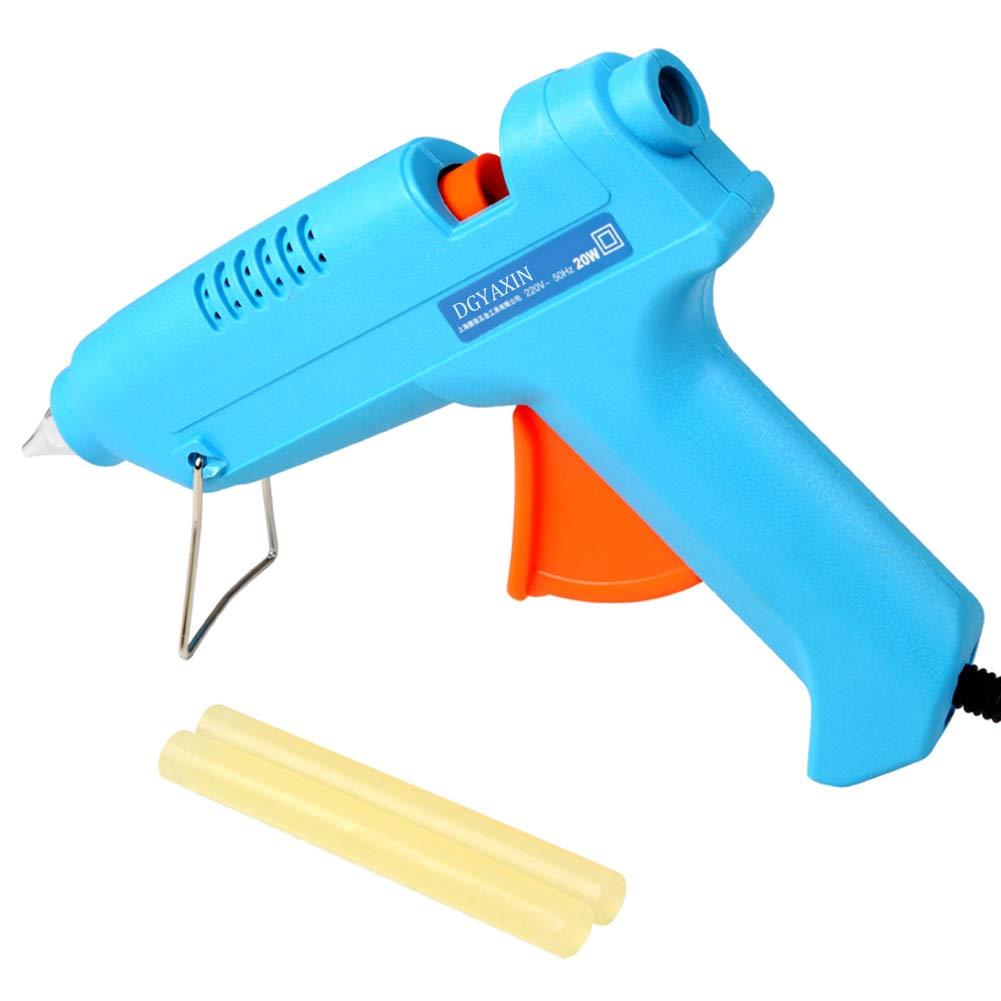 Mini Hot Glue Gun, 20 watt Household Hot Melt Glue Gun and Glue Sticks, Hand Glue Gun Home DIY Artifact, for Process Repair,Blue