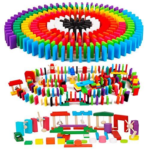AISFA 적목 도미노 교육 완구 360 개 특수 효과 장치 24 종 세트 나무 다채로운 어린이 생일 선물 나란히 용 도구 수납 가방 세트