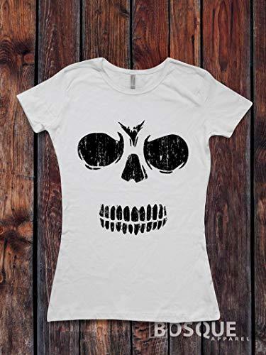 Halloween Skull T-Shirt/Skeleton T-shirt Top Tee Shirt design Halloween Skull Spooky Distressed shirt - Ink Printed]()