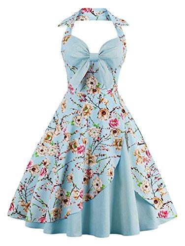 ANCHOVY Women Vintage 50s Halter Dresses Floral Audrey Hepburn Bowknot Tea Dress C82 (Sky Blue 02, S) (Floral Vintage Dress)