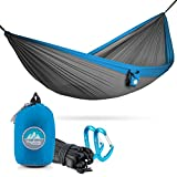 Youphoria Outdoors Portable Hammocks Single & Double Hammock with Tree Straps for Backpacking and Travel (only 12 oz) - 400 lb Rated (Double, Gray/Blue)
