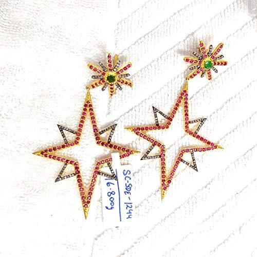 (Bridal's Natural Diamond Mix Ruby Dangler Earring, Anniversary Gift Drop Earring)