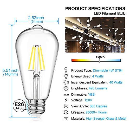 LED Edison Bulb Dimmable, Daylight White 5000K, SHINE HAI 4W ST64 Vintage LED Filament Light Bulbs, 40W Equivalent, E26 Medium Base, Pack of 12 by SHINE HAI (Image #3)