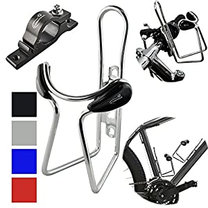 Lumintrail Bike Bottle Holder w/ Handlebar Mount Adapter lightweight aluminum alloy bicycle water cage (Silver)