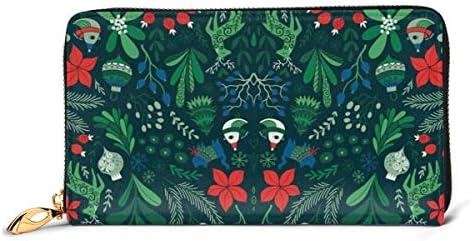 メリークリスマス 本革長財布 ファスナー財布 おしゃれ 大容量 男女共用高級おしゃれなジップレザーウォレットロングハンドバッグ