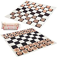 VIVVLY Giant Checkers Game for Kids & Adults. Deluxe Giant Chess Checkers Board Game for Adults & Kids