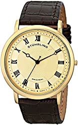 Stuhrling Original Men's 645.05 Classique Ultra Slim Gold-Tone Watch with Brown Leather Band