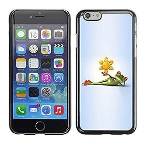 FECELL CITY // Duro Aluminio Pegatina PC Caso decorativo Funda Carcasa de Protección para Apple Iphone 6 // Frog Cartoon Grey Gray Green White