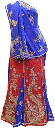gner Georgette Lahenga Style Hand Embroidery Saree Sari Free Size Blue & Red (Hand Embroidery Sarees)