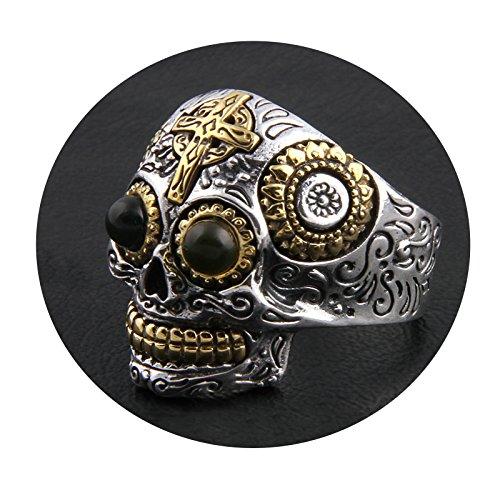 Aooaz Jewelry Silver Men's Ring Finger Cross Crown Skull Ring Silver Silver Punk Jewelry