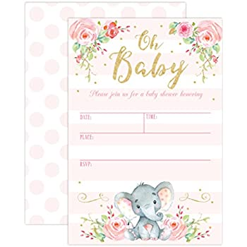 Amazon 50 fill in cute baby shower invitations baby shower girl elephant baby shower invitation pink elephant baby shower jungle baby shower invite 20 fill in invitations and envelopes filmwisefo