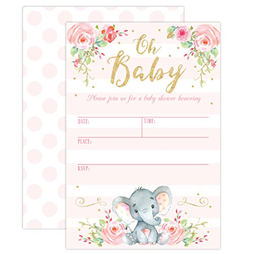 Girl Elephant Baby Shower Invitation, Pink Elephant Baby Shower, Jungle Baby Shower Invite, 20 Fill in Invitations and Envelopes by Your Main Event Prints