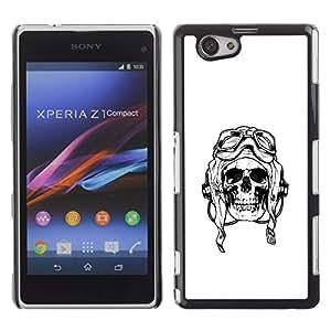 Shell-Star Art & Design plastique dur Coque de protection rigide pour Cas Case pour Sony Xperia Z1 Compact / Z1 Mini / D5503 ( Pilot Death War White Black Skull )