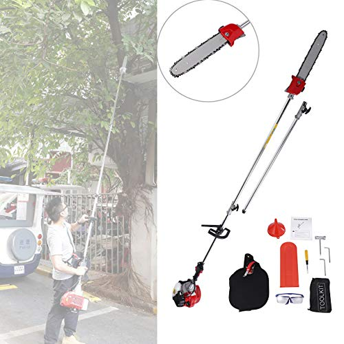 BEAMNOVA Pole Saws for Tree Trimming Chainsaw Hedge Trimmer Multifunctional 43CC Gas Powered Brush Cutter 7.6FT to 11.35FT Adjustable ()