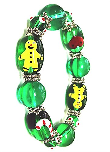 Linpeng Xmas Holiday/Gingerbread Man Sugar Cane Heart Beads Christmas Bracelet, Green