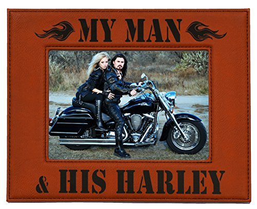 Harley Davidson Photo Frames (HARLEY DAVIDSON PICTURE FRAME ~ MY MAN & HIS HARLEY ~ Engraved Leatherette Picture Frame in Harley Colors Rawhide w/ Black Engraving Birthday Christmas Great Biker Gift Daytona Bike Week Sturgis HOG)