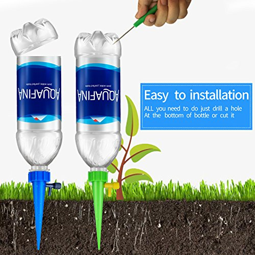 REEBENT Plant Waterer Self Watering Devices with Slow Release Control Valve Switch, Automatic Vacation self Plant Watering Spikes Globes, Self Irrigation Watering drip Bulbs System,Plant Stakes by REEBENT (Image #2)