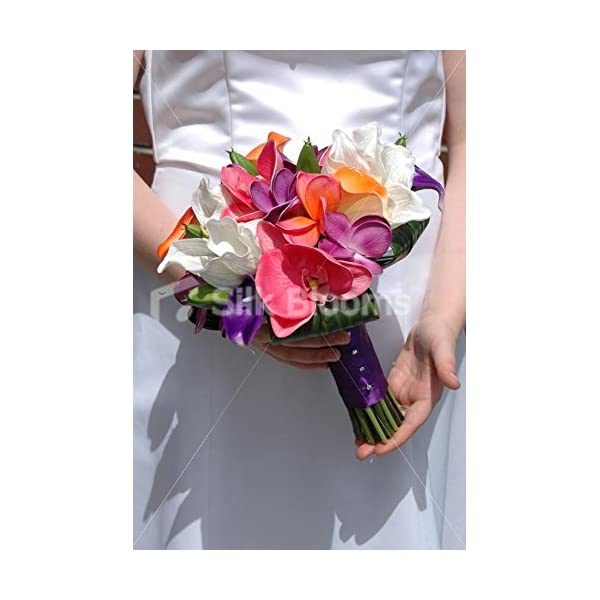 Stunning, Colourful Bridal Bouquet w/ Frangipanis & Calla Lilies