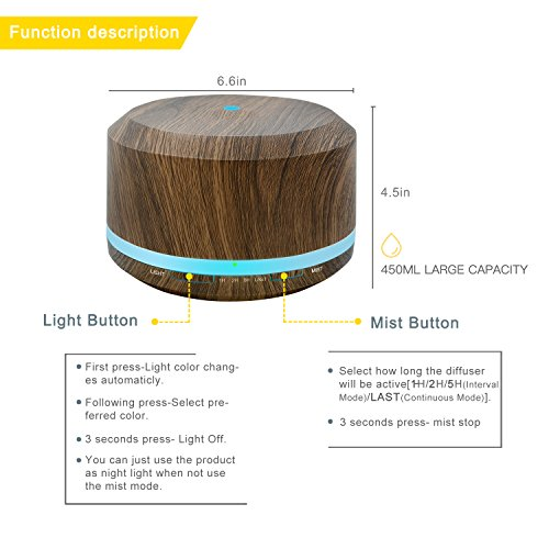 450ml Diffusers for Essential Oils, Wood Grain Aromatherapy Cool Mist Air Humidifier with 8 Color LED Lights for Home Bedroom Office by Doukedge(2 Pack) by Doukedge (Image #3)