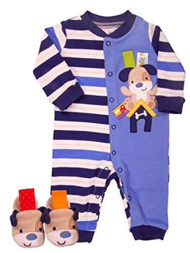 Taggies Baby Boy Dog Print Romper and Slippers (3 Mths / 8-12 Lbs)