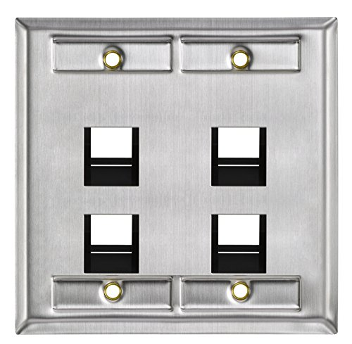 Connectors Av Accessories - Leviton 43081-2L4 4-Port Angled Stainless Steel QuickPort Dual Gang Wallplate with ID Windows