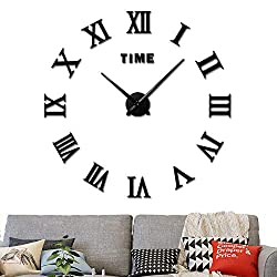 fanyuanfds Large 3D DIY Wall Clock, Roman Numerals Clock Frameless Mirror Surface Wall Sticker Home Decor for Living Room Bedroom-2-Year Warranty (Black)