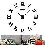 3D DIY Wall Clock Frameless Large Clock Apartment Decorations Mute Mirror Wall Stickers Black Roman Numerals 2-Year Warranty