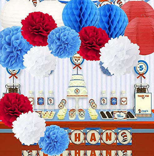 Dr Seuss Cat in The Hat Party/Dr Suess Decor Turquoise White Red Tissue Paper Flower Lanterns Honeycomb Balls/Dr. Seuss Birthday Decorations/Circus Carnival Party Decorations/Turquoise Red Wedding