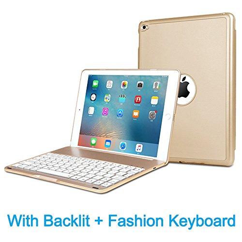 MOSTOP iPad Mini 2 / 3 Keyboard Bluetooth Slim Aluminum Wireless Keypad With 7-Color LED Soft Backlit for iPad Mini 2 / 3 (Gold)
