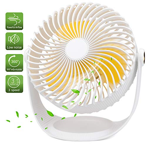 OYRGCIK Air Circulator Fan, Quiet Table Fan w/Build-in Rechargeable 2000mAh Battery Small USB Personal Desk Fan 360° Rotatable Handheld Fan w/ 3 Speeds for Home Office Outdoor Camping Travel, White
