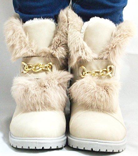 Beige Chelsea Talon Chaussures À Hiver Trapu Femmes Motards Dames Taille Bas Pour Semelle De Grip Fourrées Plat Bottines qHTBB6xUSw