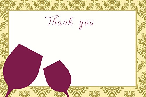 30 Blank Thank You Cards Gold Burgundy Damask Vintage Wine Tasting Party Bridal Shower Wedding + 30 White Envelopes