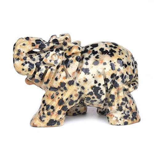 - Carved Natural Dalmatian Jasper Gemstone Elephant Healing Guardian Statue Figurine Crafts 2 inch